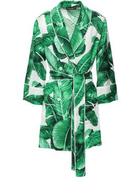 Double Breasted Floral Print Silk Twill Jacket by Dolce & Gabbana