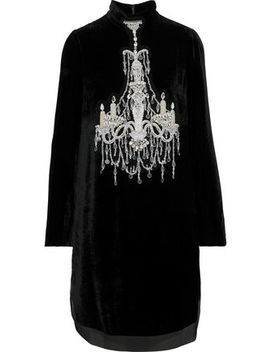 Embellished Chiffon Trimmed Velvet Mini Dress by Dolce & Gabbana