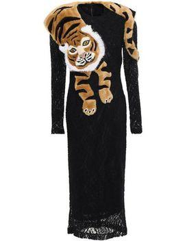Faux Fur Trimmed Lace Midi Dress by Dolce & Gabbana