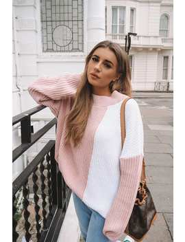 Dani Dyer Pink And White Colour Block Knit Jumper by In The Style