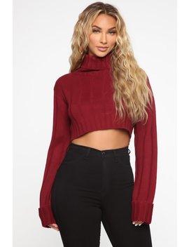 Know You're Mine Cropped Sweater   Burgundy by Fashion Nova