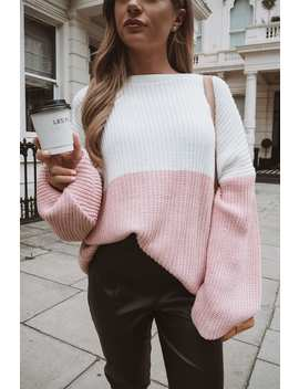 Dani Dyer Pink And White Colour Block Jumper by In The Style