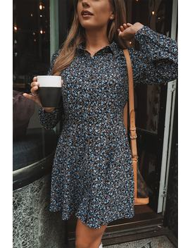 Dani Dyer Blue Floral Print Skater Shirt Dress by In The Style