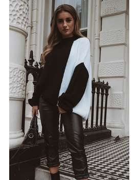 Dani Dyer Black And White Colour Block Knit Jumper by In The Style