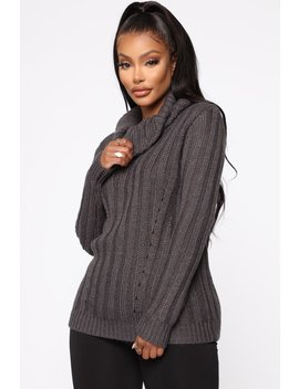 Vanessa Turtleneck Sweater   Charcoal by Fashion Nova