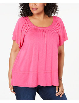 Plus Size Flutter Sleeve Swing Hem Top, Created For Macy's by General