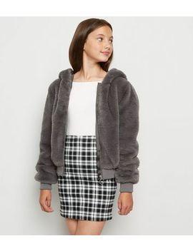 Girls Dark Grey Faux Fur Hooded Bomber Jacket by New Look