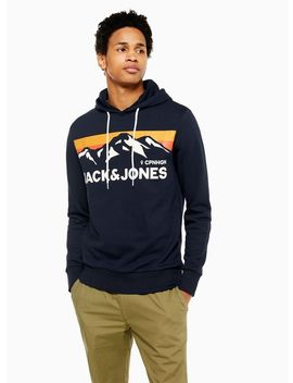 Jack & Jones Navy Logo Hoodie by Topman