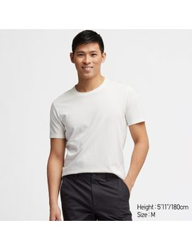 Men 100% Supima Cotton Crew Neck Short Sleeved T Shirt by Uniqlo
