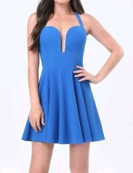 💝💝💝Nwt Bebe X Naven Fully Lined Plunge Halter Skater Dress 0 Xs Blue 00 Xxs by Bebe