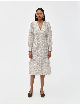 Perrine Long Sleeve Dress In White by Farrow Farrow