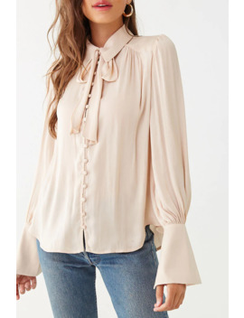 Pussycat Bow Button Loop Shirt by Forever 21