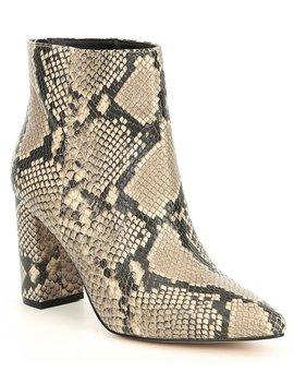 Megan Snake Print Leather Block Heel Booties by Chelsea & Violet