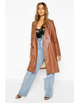 Faux Leather Double Breasted Coat by Boohoo