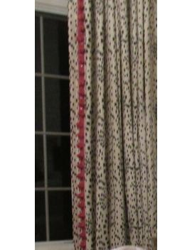 Pair Brunschwig & Fils Les Touches Curtain Panels Black / Cream With Pink Trim by Brunschwig & Fils