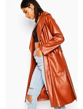 Belted Faux Leather Jacket by Boohoo
