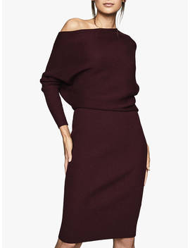 Reiss Lara Off Shoulder Knitted Dress, Pomegranate by Reiss