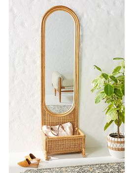Hazel Rattan Floor Mirror by Anthropologie