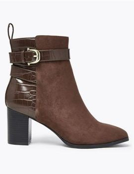 Buckle Block Heel Ankle Boots by Marks & Spencer