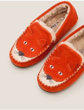 Suede Fox Slippers   Autumn Spice Orange by Boden