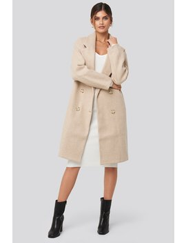 Long Double Breasted Coat Beige by Adorablecaroxnakd