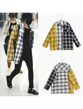 Kpop Suga Bangtan Boys Same Korean Spell Color Plaid Shirt Shirt Sweatshirts K Pop Spring Autumn Harajuku Yellow Hoodie by Ali Express.Com