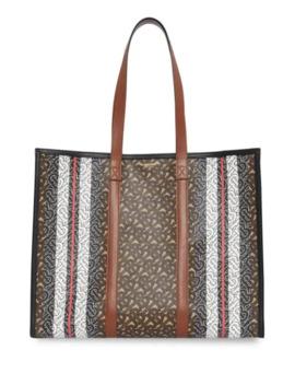 Monogram Stripe E Canvas Tote Bag by Burberry