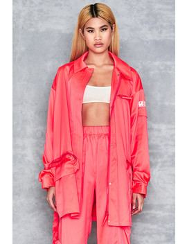 Neon Coral Oversized Nylon Jacket by Mistress Rocks