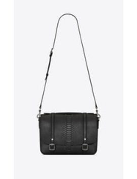Schoolbag Satchel In Brushed Python by Saint Laurent
