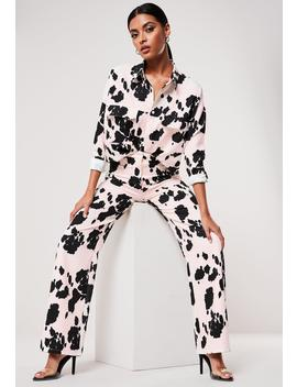Black Co Ord Cow Print Wide Leg Pants by Missguided