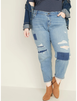 Mid Rise Distressed Plus Size Boyfriend Jeans by Old Navy