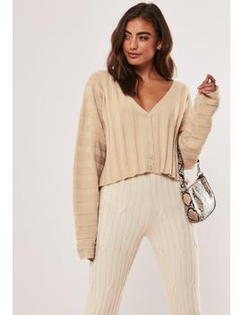 Stone Extreme Rib Cropped Cardigan by Missguided