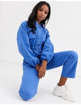 Asos Design   Bleu De Travail En Jean à Fermetures éclair   Bleu by Asos Design