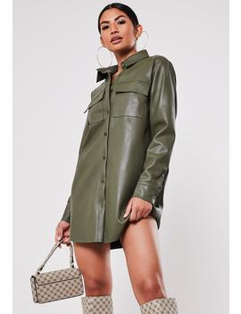 Khaki Faux Leather Oversized Shirt Dress by Missguided