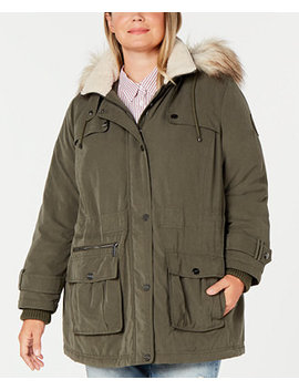 Plus Size Water Resistant Hooded Anorak Coat With Faux Fur Trim, Created For Macy's by General