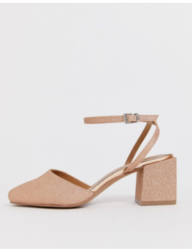 Asos Design   Salvation   Chaussures Pointure Large à Gros Talon Mi Haut Et Bout Carré   Or Rose Pailleté by Asos Design