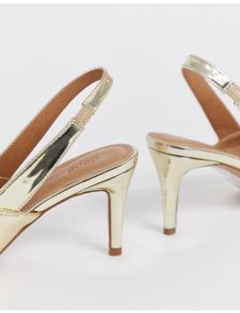 Asos Design   Savannah   Chaussures Pointure Large à Petit Talon Et Bride Arrière   Mélange Or by Asos Design