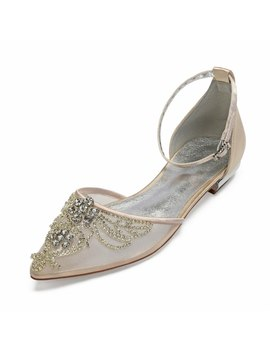 Sparkling Lady Satin Mesh Dress Shoes Pointed Toe Ankle Strap Bridal Wedding Flats With Crystal Applique Party Prom Ball Shoes by Ali Express.Com