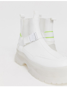 Asos Design Chelsea Boots In White Faux Leather With Strap Detail And Chunky Sole by Asos Design