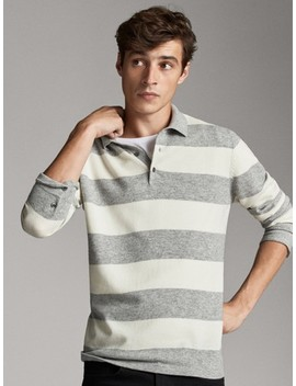 Striped Wool Cashmere Polo Sweater by Massimo Dutti