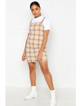 Check Eyelet Pinafore Dress by Boohoo