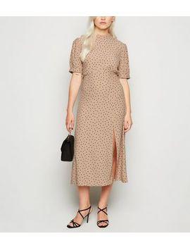 Petite Brown Spot Side Split Midi Dress by New Look