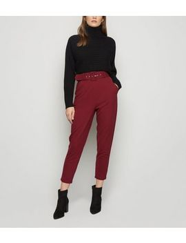 Burgundy Belted High Waist Tapered Trousers by New Look