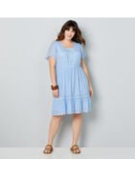 Flutter Sleeve Embroidered Dress by Avenue