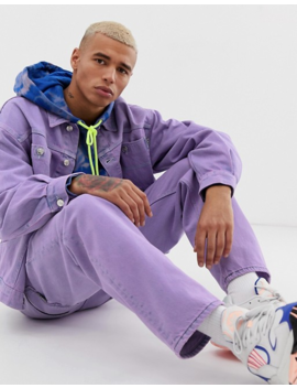 Crooked Tongues Denim Worker Jacket In Lilac Wash by Crooked Tongues