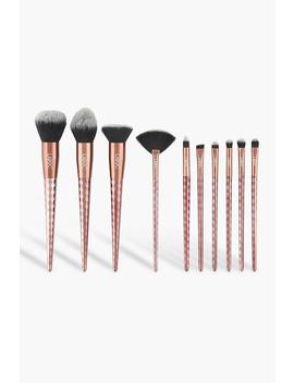10 Piece Rose Gold Diamond Brush Set by Boohoo