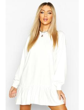 Drop Hem Long Sleeve Sweatshirt Dress by Boohoo