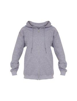 Grey Fleece Zip Up Hoodie by Prettylittlething