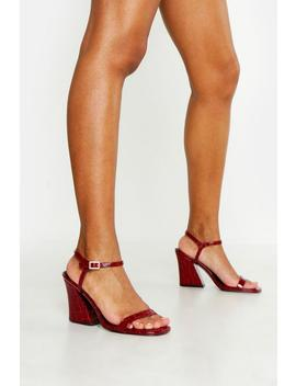 Croc Flared Heel 2 Part Heels by Boohoo