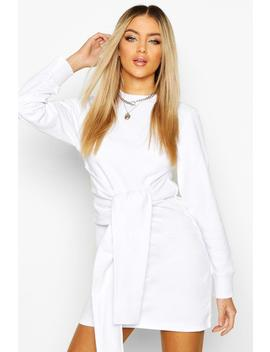 Long Sleeve Tie Front Sweat Dress by Boohoo